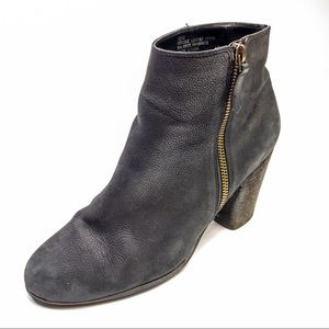 BP Leather Trolly Ankle Booties Heeled Black